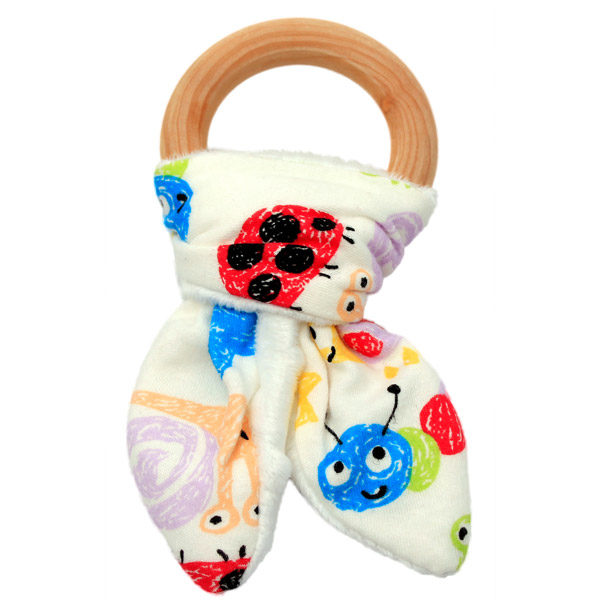 Bunny Ear Wooden Teething Ring Bugs & Bees
