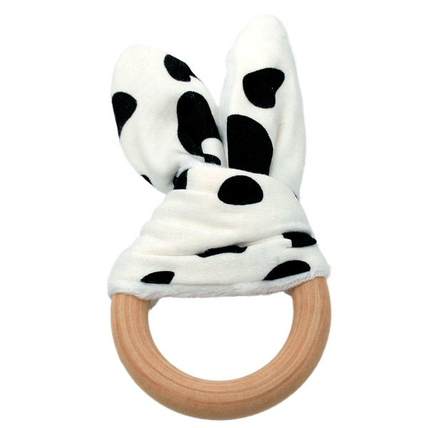 Bunny Ear Wooden Teething Ring Cowhide