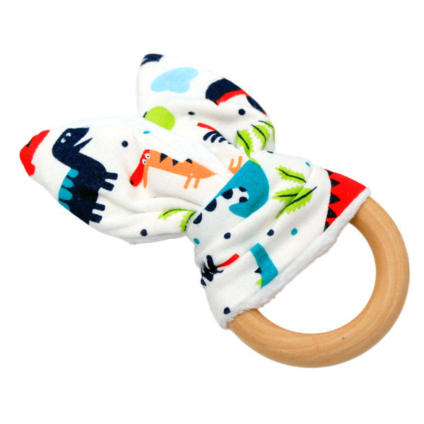 Bunny Ear Wooden Teething Ring Dinosaurs