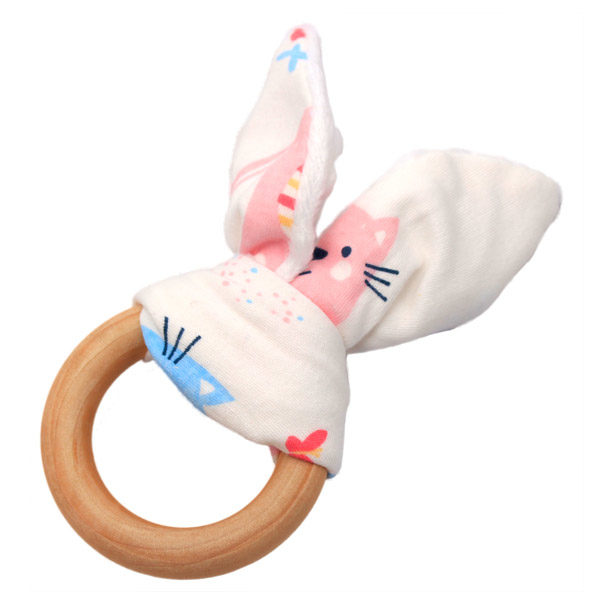 Bunny Ear Wooden Teething Ring Kittens