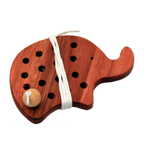 Wooden Threading Toy Elephant