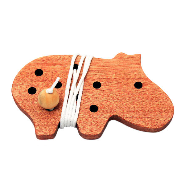 Wooden Threading Toy Hippo