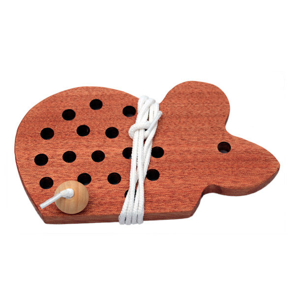 Wooden Threading Toy Mouse